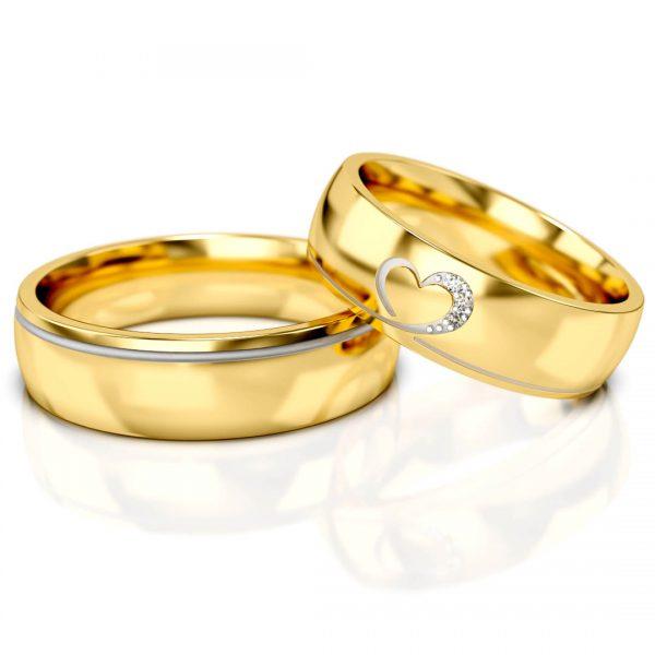 obrączki ślubne z serduszkiem i diamentami